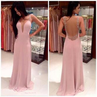 dress long dress pink bridesmaid evening dress
