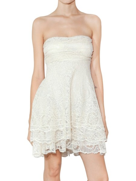Jay Ahr Strapless Matte Lace Dress in White (ivory) | Lyst