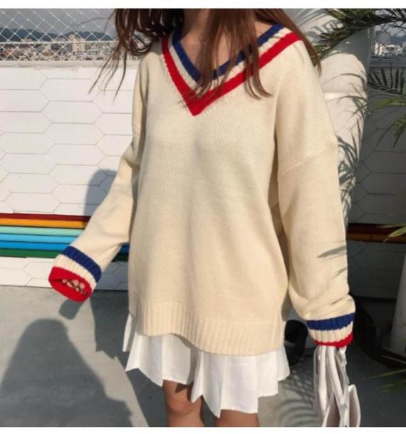 sweater girly sweatshirt jumoper jumper v neck tumblr knitted sweater off-white