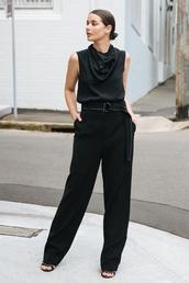 pants,top,black top,black pants,wide-leg pants