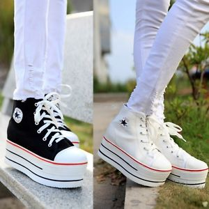 New Women Ladies High Top Canvas Lace Up Comfort Platform Sneakers Shoes EP98 | eBay