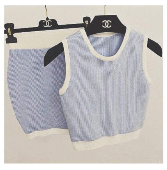 baby blue two-piece chanel lavender white dress preppy stripes textured sweater