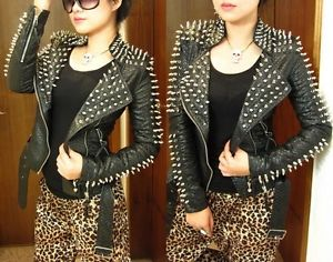 Women's Punk Spike Studded Shoulder PU Snake Leather Black Cropped Coat Jacket | eBay