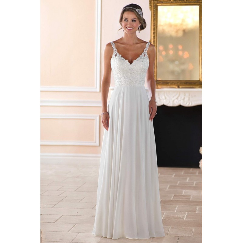 Stella York Style 6393 by Stella York - Ivory  White Chiffon  Lace Low Back  V-Back Floor Straps  V-Neck Wedding Dresses - Bridesmaid Dress Online Shop
