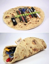 bag,trouser,tortilla,back to school,style,cool,backpack,cool backpack,food school,food pencilcase,pencil case,tortilla pencilcase,hipster school,grunge,hipster,girl,back to school. summer,food,food humor,vintage,penccase,tos,pita,bread,home accessory,stationary,wrap,funny,burito,tumblr outfit,amazon