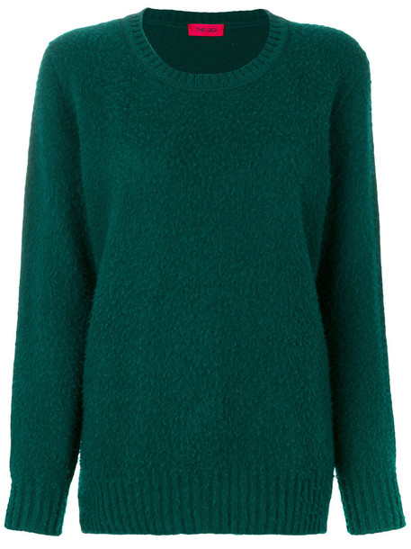 The Gigi - ribbed trim jumper - women - Wool - S, Green, Wool