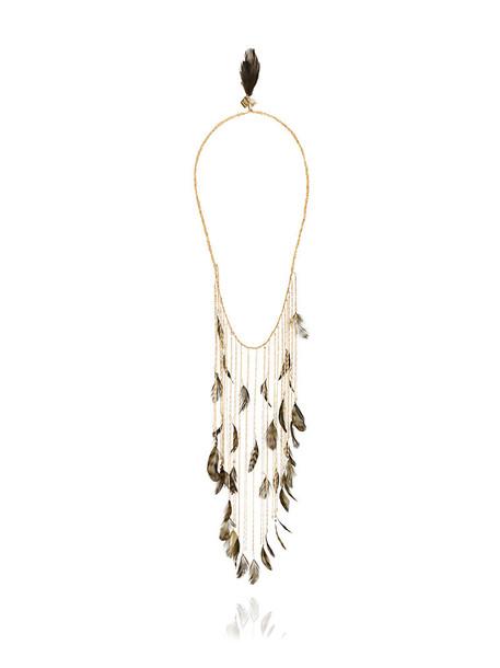 Rosantica long women necklace grey metallic jewels