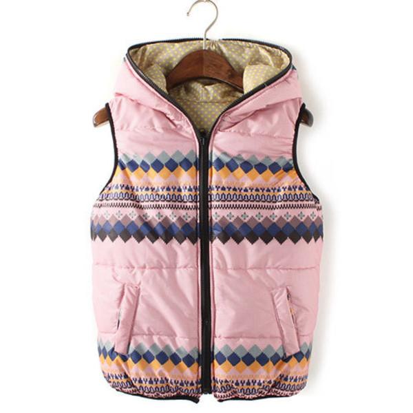 coat vest polka dots hood