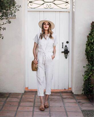 jumpsuit tumblr cropped jumpsuit white jumpsuit sandals slides shoes felt hat hat bag round bag shoes