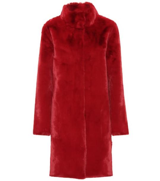 Velvet Mina faux fur reversible coat in red