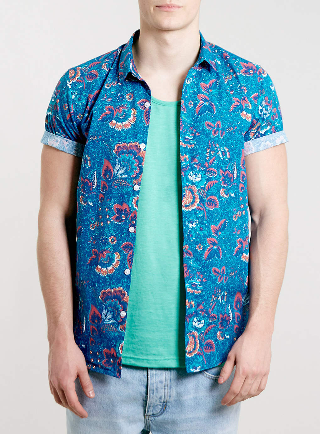 Blue Floral Short Sleeve Shirt - Men's Shirts - Clothing