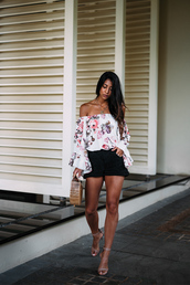 top,floral top,tumblr,off the shoulder,off the shoulder top,floral,shorts,bag,sandals,sandal heels,high heel sandals,shoes