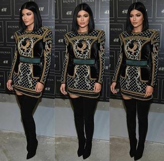 dress kylie jenner kylie jenner dress balmain black dress knee high boots keeping up with the kardashians kardashians