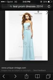 dress,prom dress,teal dress