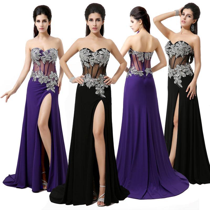 2015 Black Purple A Line Long Prom Dresses Side Slit See Through ...