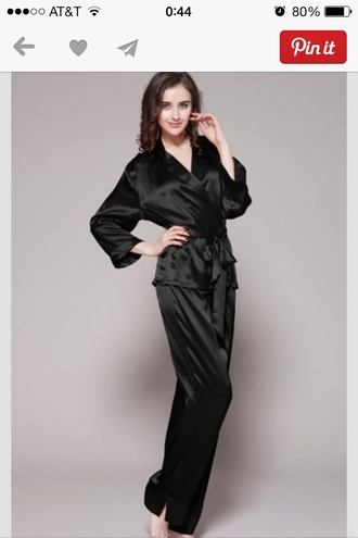 pants black silk pajama set