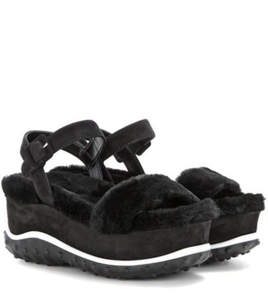 Miu Miu fur sandals platform sandals suede black shoes
