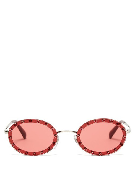 Valentino - Crystal Embellished Oval Frame Sunglasses - Womens - Dark Pink