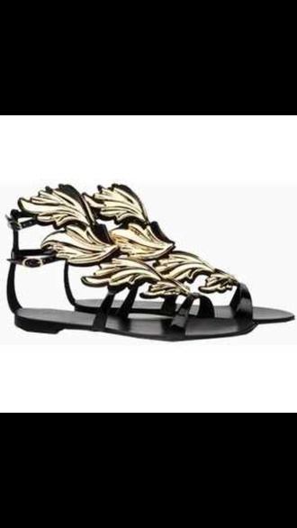 leaf shoes black and gold sandals