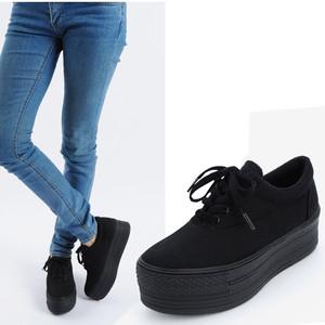 Womens Fashion Low Top Canvas Light Platform Sneakers Shoes Black ...