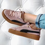 shoes,brown,black,pastel pink,laces,puma rihanna creeper nude