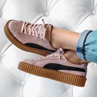shoes brown black pastel pink laces