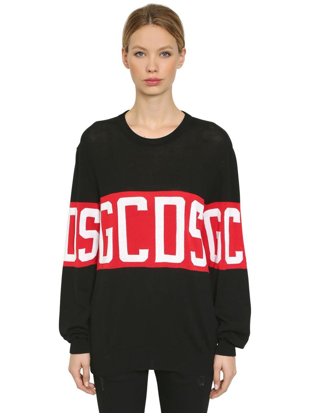 GCDS Logo Knitted Sweater in black