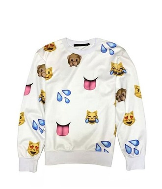 sweater emoji print white sweater cute swagg style tumblr cool girl boy summer trendy hispter
