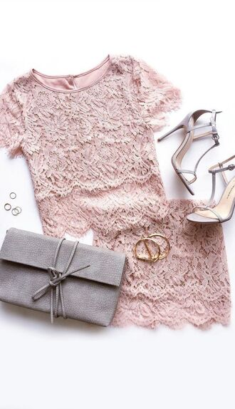 top grey sandals all pink everything all pink outfit skirt mini skirt pink skirt lace top pink top bag grey bag high heel sandals sandals summer outfits bracelets ring