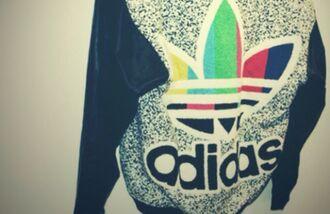 jacket sweater adidas rainbow black white style swag streetwear streetstyle adidas originals vintage