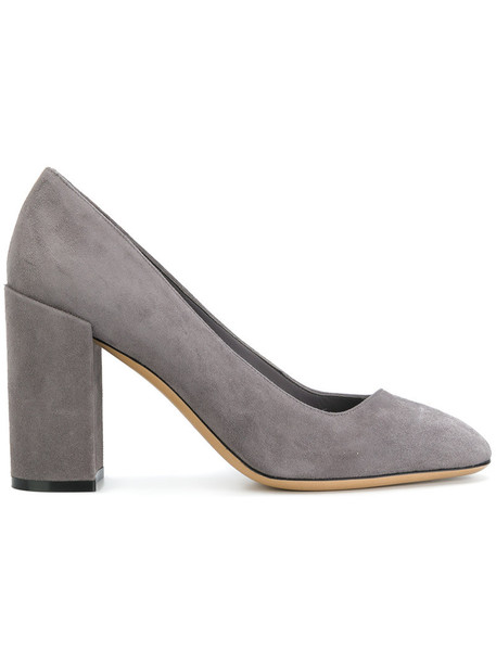 heel women pumps leather grey shoes