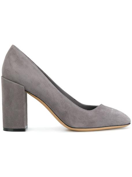 Salvatore Ferragamo heel women pumps leather grey shoes