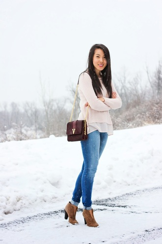 refined couture blogger jeans bag pink sweater suede boots