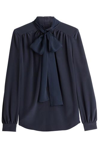 blouse silk blue top