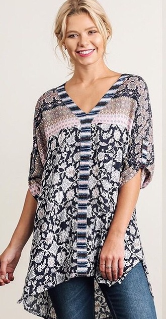 top floral tunic bohemian pattern navy pink long shirt