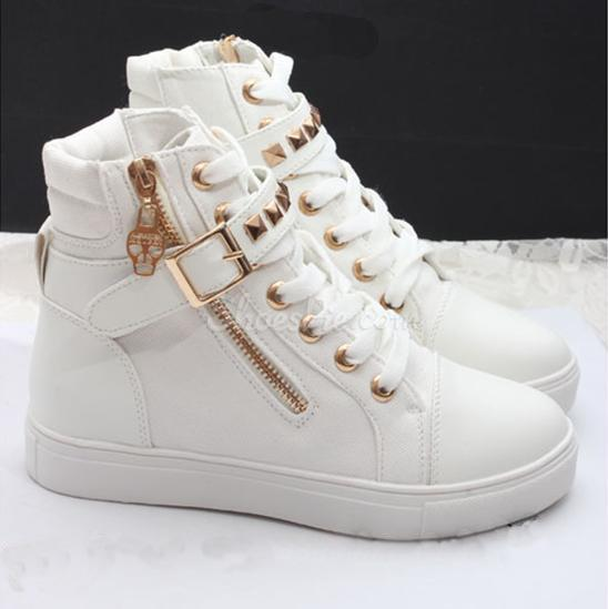 Fanshion Side Zipper Canvas Shoes Buckle Rivet