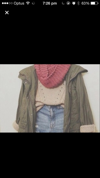jacket green jacket sweater scarf