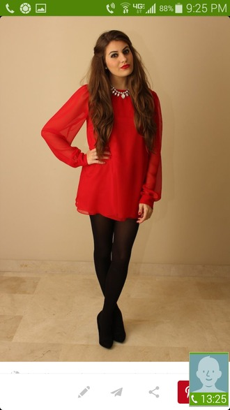 blouse red dress red shirt