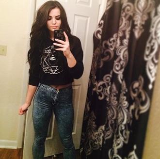 star stars cute sweater black jeans jumper hoodie crop jumper cropped crop tops black jumper black sweater black crop jumper eye goth
