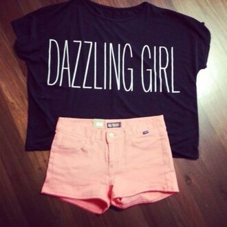 jumpsuit dazzling girl pink shorts black crop top grapic tee