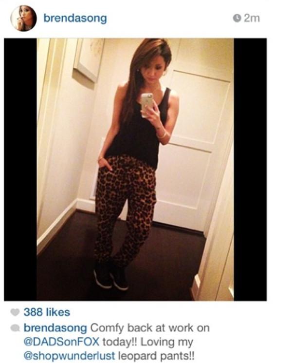 pants leopard pants brenda song drawstring pants