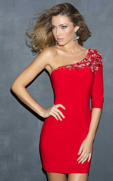 Shoulder Beaded Appliques Tight Red Short Dress [One Shoulder ...