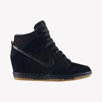 shoes black nike wedge sneakers