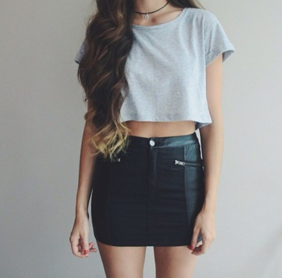 black skirt high waisted skirt zipper