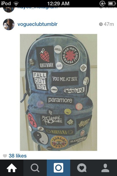 bag school bag backpack tumblr outfit hair accessory jewels band band merch