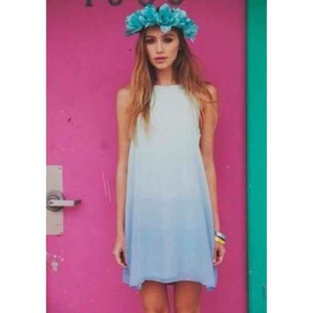 dress cailin russo white blue ombre dress white dress blue dress ombre model pretty cool sleeveless dress sleeveless short dress style fashion knee length dress