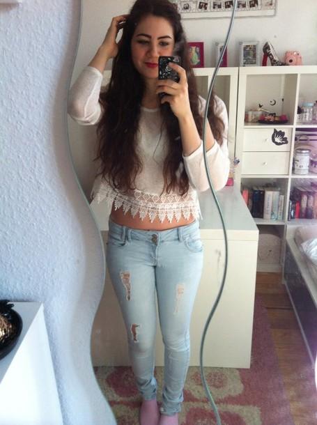 jeans vintage blogger style fashion blue lace instagram pants lace top white crop tops white top crop tops lace crop top sweater summer top blouse