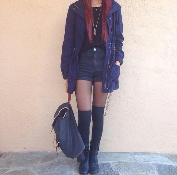 jacket blue jacket black high waisted shorts knee high socks combat boots backpack back to school navy