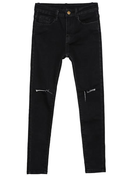 Slit knee slim pants