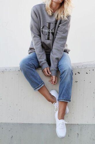 shoes blue jeans keds white keds grey sweatsirt calvin klein calvin klein sweatshirt boyfriend jeans